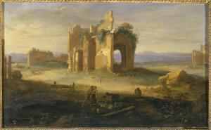 Zuidelijk landschap met de ontmoeting tussen Jacob en Rachel (Genesis 29:11)
