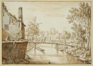 Gezicht op de Oosterstroom en de ommuring van de Bemuurde Weerd ten noorden van de stad Utrecht; in het verschiet de Stadsvolmolen en de Pellecussenpoort