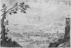 Bergachtig rivierlandschap met brug en stad
