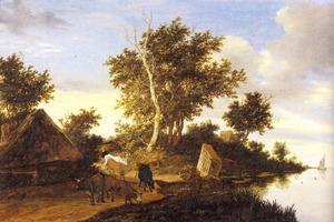 Rivierlandschap met runderen op een zandweg