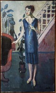 Portret van vrouw in blauwe japon
