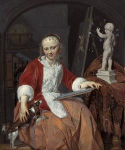 Portret van Isabella de Wolff (....-1718) als kunstenares
