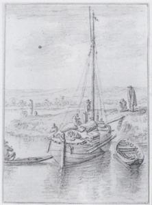 Rivierlandschap met een aangemeerd vrachtschip