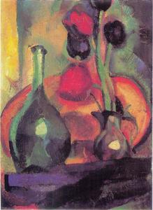 Stilleven met tulpen in een vaas en een fles