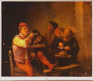 Rokende boeren rondom een tafel
