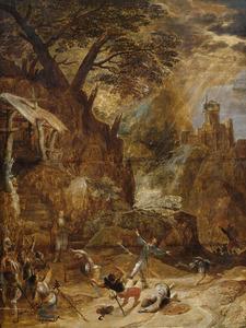Berglandschap met een heremiet, die een hem aanvallende groep ridders en soldaten bekeert