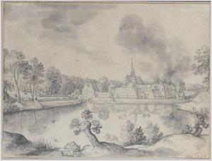 Landschap met dorp aan een meer