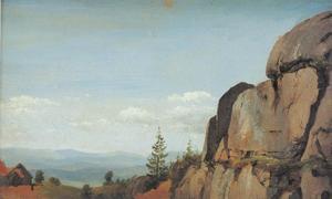 Noors landschap met rotsen op de voorgrond