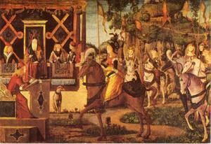 De Koningin van de Amazonen met Theseus
