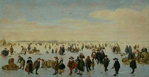 Het IJ bij winter met Amsterdam in het verschiet