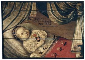 Portret van een acht maanden oud onbekend kind op zijn doodsbed