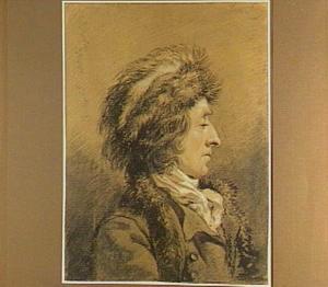 Man met bontmuts, en profil naar rechts
