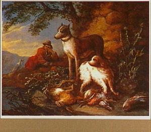 Honden en jager bij jachtbuit van gevogelte in een landschap