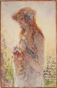 Vrouw met rood haar in een tuin