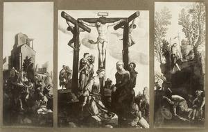 De kruisdraging (binnenzijde links), de kruisiging (midden), de opstanding (binnenzijde rechts); Adam (buitenzijde links); Eva (buitenzijde rechts)