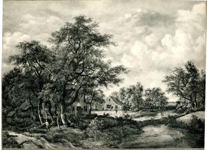 Bebost landschap met een boerderij