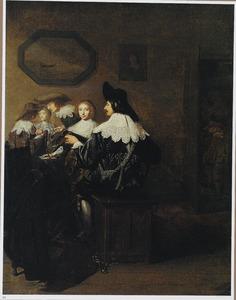 Gezelschap met een luit spelende man aan een tafel