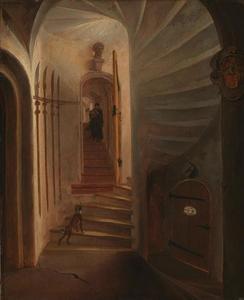 Portaal in een traptoren met een afdalende man, vermoedelijk de situatie vlak voor de aanslag op prins Willem I in het Prinsenhof te Delft