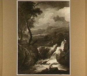 Landschap met een waterval; in de voorgrond een visser