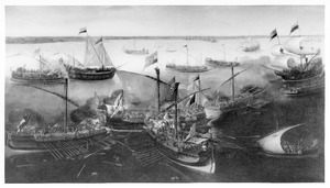 De slag bij Sluis tussen Hollandse en Spaanse galeien, 26 mei 1603