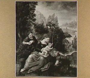 De H. Familie met Johannes de Doper als kind in een berglandschap