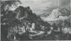 Berglandschap met een ontmoeting op de voorgrond