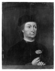 Portret van een man met een anjer