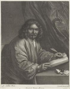 Portret van  Willem Goeree (1635-1711), schrijvend aan een tafel met een ganzenveer