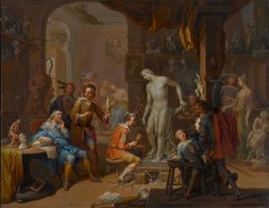 Een kunstliefhebber in het atelier van de beeldhouwer