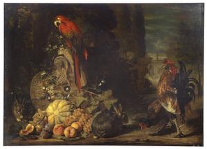Stilleven van meloen, druiven en perziken met daarbij een papegaai op een omgevallen korinthisch kapiteel, hoenderen en konijnen, in een parklandschap