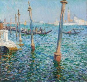 De lagune van Venetië, met uitzicht op het eiland San Giorgio Maggiore