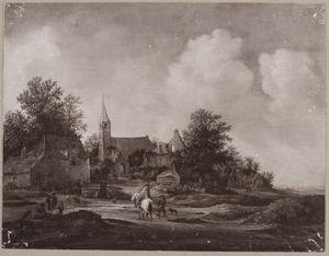 Landschap met ruïne bij een kerk (Rijnsburg?)