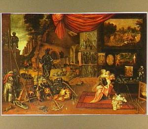 Allegorie van het gevoel (een van de vijf zintuigen): Venus en Cupido met wapentuig en -rustingen, schilderijen en boeken. In de achtergrond een smidse
