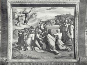 Mozes en Jozua dalen af van berg met de Tafelen der Wet en aanschouwen de aanbidding van het Gouden Kalf (Exodus 32:15-19)