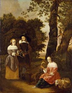 Portret van een echtpaar in een landschap met een herderin