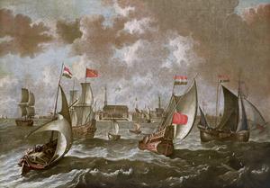 Schepen voor de haven van Amsterdam