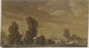 Stormachtige zee met zinkend schip en tweemaster tussen de rotsen