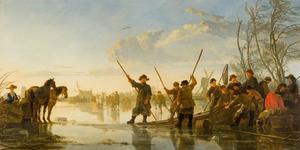 Vissers op de bevroren Maas bij Dordrecht