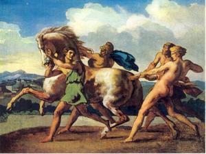 Romeinse jongens houden een paard tegen
