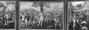 Sint Sebastiaan overtuigt Marcus en Marcellus (links), de marteling van Sint Sebastiaan (midden), de dood van Sint Sebastiaan (rechts)