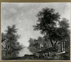 Landschap met rivier en geboomte in de omgeving van Dordrecht