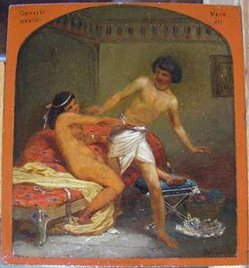 De vrouw van Potifar probeert Joseph de verleiden (Genesis 39:7)