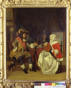 Man die een glas wijn aanbiedt aan een luitstemmende vrouw
