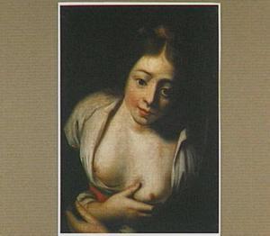 Een jonge herderin met ontblote borst