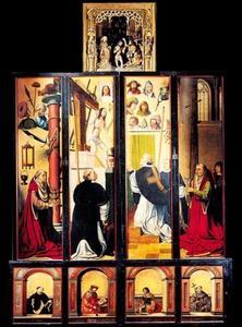 De doop van Christus (gesneden bovendeel); De Mis van de H. Gregorius (buitenzijde linker- en rechterluik); Vier heiligen (predellaluiken)
