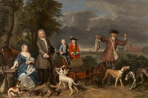 Portret van Pieter Quarles (1677-1741) en Cornelia Splinter van Loenersloot (1677-1750) en hun twee zonen Willem en Lodewijk; met een bediende en op de achtergrond het huis Vrijburg aan de Broeksloot in Voorburg