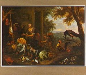 Meid en jongen met een mand met vruchten op zijn rug bij een uitstalling van vruchten en jachtbuit
