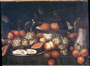 Stilleven van vruchten, porselein en oesters