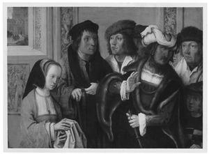 De vrouw van Potifar toont haar gemaal de mantel van Jozef. In de achtergrond: Jozef wordt naar de gevangenis geleid (Genesis 39:17-18)