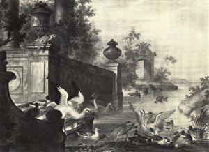 Riviergezicht met watervogels bij een trap